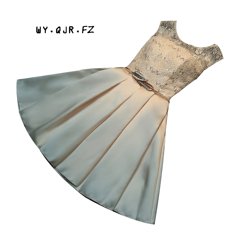 HA1#Lace Up Bridesmaid Dresses 2019 Spring New Bride Married Toast Clothing Short Slim Metal Belt Champagne Party Prom Dress Gir