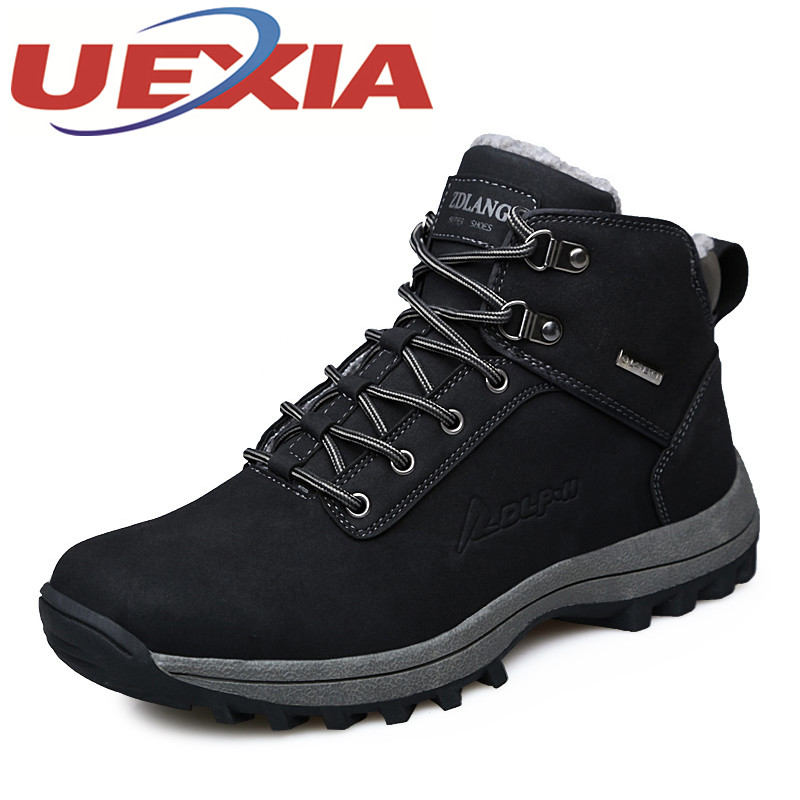 Big Size 39-46 Men's Winter Sneakers Climbing Boots Hiking Shoes Male Warm Plush Footwear Snow Shoes Athletics Outdoor Trekking yin qi shi man winter outdoor shoes hiking camping trip high top hiking boots cow leather durable female plush warm outdoor boot