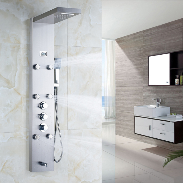 Waterfall 6pc Massage Jets Rain Shower Column Thermostatic Mixer Shower Faucet Tower W/Hand Shower Tub Spout Black Shower Panel