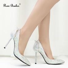 Roni Bouker Fashion Diamond Woman High Heels Silver Rhinesto