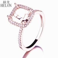 HELON SOLID 10K ROSE GOLD SEMI MOUNT HALO 7X6MM CUSHION CUT ENGAGEMENT WEDDING REAL NATURAL DIAMONDS FINGER RING FINE JEWELRY