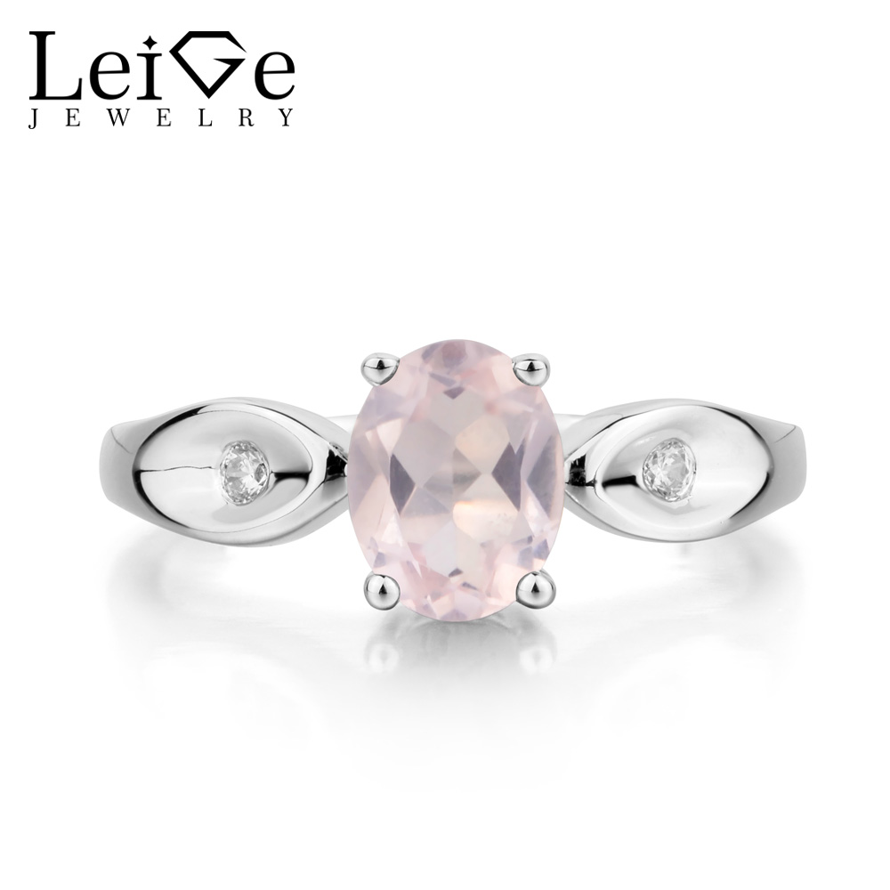 Leige Jewelry Natural Pink Quartz Ring Proposal Ring Oval Cut Pink Gemstone Solid 925 Sterling Silver Romantic Gifts for Women leige jewelry promise ring natural pink quartz ring oval cut pink gemstone 925 sterling silver ring romantic ring for women