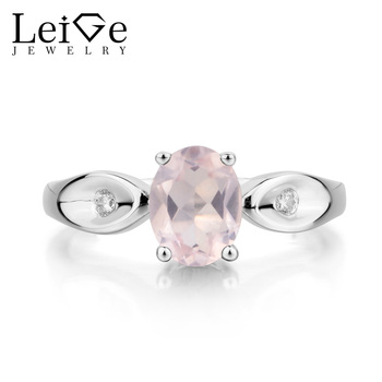 Leige Jewelry Natural Pink Quartz Ring Proposal Ring Oval Cut Pink Gemstone Solid 925 Sterling Silver Romantic Gifts for Women