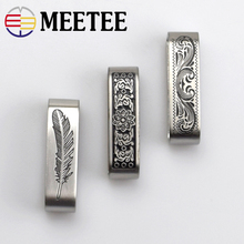 Meetee 2pcs 40mm Solid Stainless Steel Metal Ring Belt Loop Buckle Keeper Jeans Clothing Accessories for 3.7-3.9cm F1-55