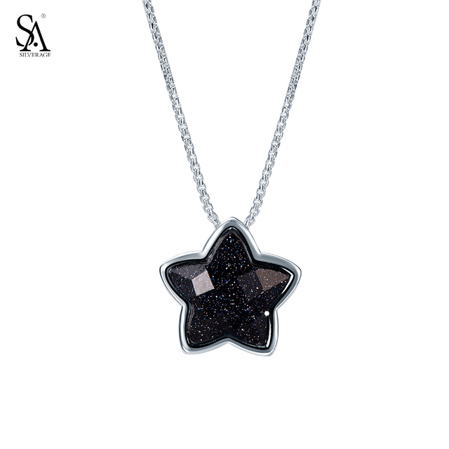 """SILVERAGE Real 925 Sterling Silver Star Necklaces Pendants Fine Jewelry for Women 2016 New Black Gemstone Aventurine 11.11, 18"""""""