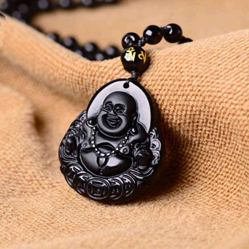 ใหม่ธรรมชาติสีดำO Bsidian M Aitreyaหินจี้และสร้อยคอเคลือบL Aughing B Uddhaไทยโชคดีผู้หญิงเครื่องประดับ