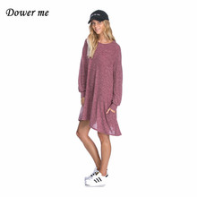 Elegant O-neck Straight Women Dress Fashion Cashmere Slim Gown Female Simple Loose Frocks YN2451(China)