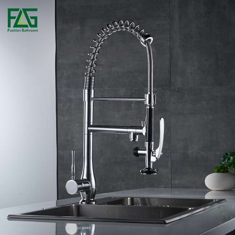 FLG Kitchen Mixer Faucet Nickle Brushed Chrome Dual Sprayer Swivel Rotatable Hot Cold Sink Kitchen Water
