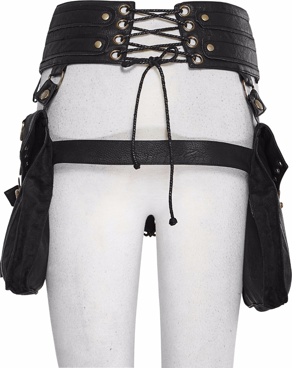 Steampunk Gothic Ladies Double Waist Belt Bag With Two Buckles Black PU Leather Waist Belts Bags With Zipper Back Lace-Up Bags 2