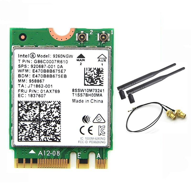 Inalámbrico para Intel AC 9260 9260NGW 802.11ac NGFF WiFi Bluetooth 5,0 tarjeta + 6dbi IPEX MHF4 U. fl a RP-SMA juego de antena externa