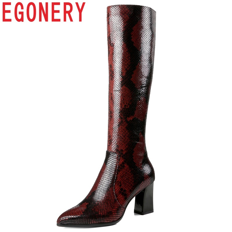 все цены на EGONERY women knee high boots full genuine leather pointed toe high quality shoes warm inside sexy lady side zipper fashion boot