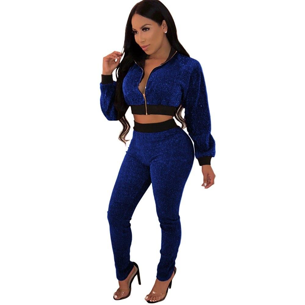 fbf795e9d30 Winter Sparkly Metallic Silk 2 Piece Set Playsuit Zipper Up Full Sleeve Crop  Top And Long Pant Velvet Jumpsuit Women Plus Size