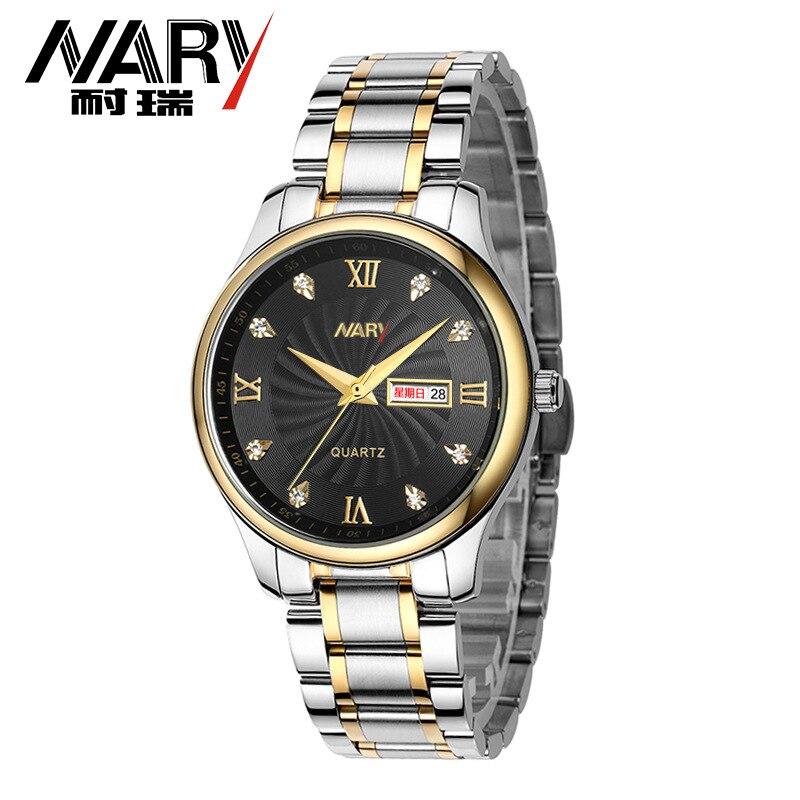 044ae677b899 Nueva Nary Hombres Mujeres Negocio Reloj de Plata de Oro Marca Pareja Reloj  con Calendario de Acero Inoxidable Relojes de Pulsera de Lujo montre femme  en ...