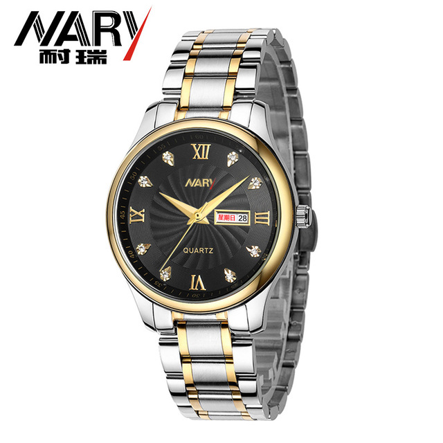 4657cb27f377 Nueva Nary Hombres Mujeres Negocio Reloj de Plata de Oro Marca Pareja Reloj  con Calendario de