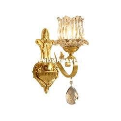 Nowo nowoczesne brąz kryształ kinkiet europejski mosiądz kinkiet ścienny do domu z krystalicznie odcień nowoczesna lampa Lustre do dekoracji domu