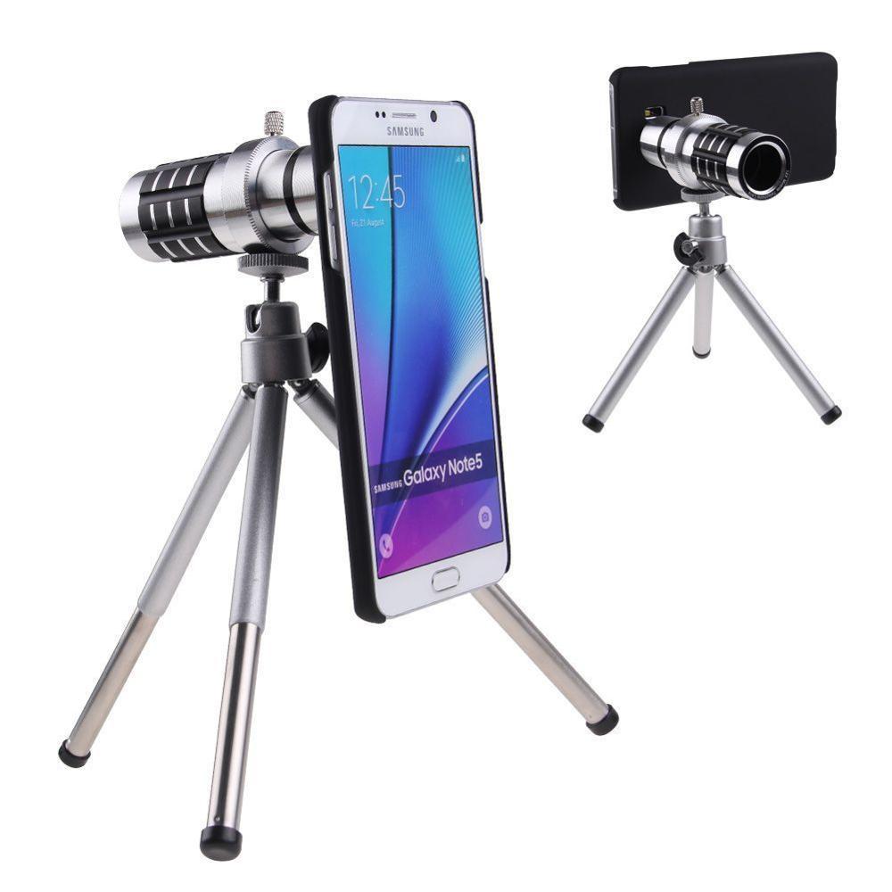 Držák na fotoaparát s krytem klipu s 12násobným zoomem a objektivem Stativ s dalekohledem pro Samsung Galaxy S7 S6 PLUS S8 Edge Note 4/5