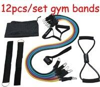 Juego de 12 unidades de entrenamiento de fuerza de látex  bandas de resistencia a la tensión para gimnasio en casa  tubos de ejercicio para Fitness  envío gratis