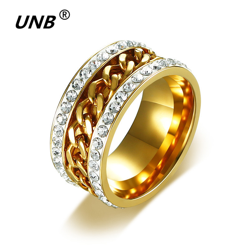 AAA+ Rhinestone Chain Ring Men Gold Color Bling Crystal Rings for Women Spinner Wedding Love Ring Jewelry Fashion Drop Shipping