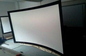 Image 4 - شاشة عرض سينمائية جيدة العرض 16:9 منحني إطار ثابت شاشات العرض 120 بوصة HD مات الأبيض دعوى لعرض السينما ثلاثية الأبعاد