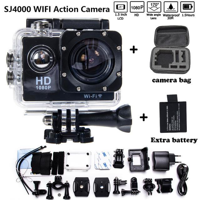 Adicionar Saco Da Câmera e dois Bateria Câmera de Ação Esporte 1080 P HD 12MP sj4000 wifi extre esportes gopro hero 3 camara ir pro 4 cam estilo