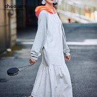 Cheerart Autumn Long Sleeve Hoodie Dress Women Long Maxi Loose Corduroy Sweatshirt Korean Dress Fall 2017 Fashion