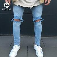 Модные Для мужчин; обтягивающие джинсы промывают Винтаж выцветшие рваные проблемных Slim Fit Эластичный Jegging джинсовые штаны Джинсы для женщин...