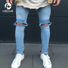 Модные Для мужчин; обтягивающие джинсы промывают Винтаж выцветшие рваные проблемных Slim Fit Эластичный Jegging джинсовые штаны Джинсы для женщин с большим отверстием