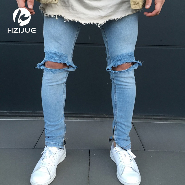 bdbe8efa493 Fashion Men`s Skinny Jeans Washed Vintage Faded Ripped Distressed Slim Fit  Stretchy Jegging Denim Pants Jeans With Big Hole