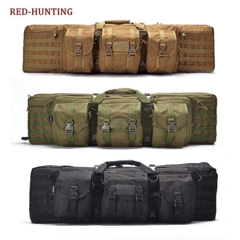 Tactical Double Long Rifle Pistol Gun Bag Transportation Case w Backpack Lockable Compartment 120