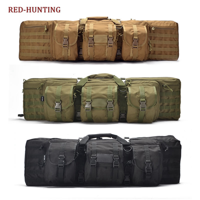 Tactical Double Long Rifle Pistol Gun Bag Transportation Case w/ Backpack Lockable Compartment 120-in Holsters from Sports & Entertainment    1