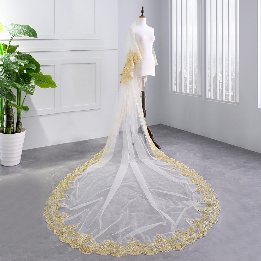Luxury 3 5M White Ivory Cathedral Wedding Veils Long Sequins Applique Edge Bridal Veil with Comb Wedding Accessories Bride Veil in Bridal Veils from Weddings Events
