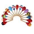 Caliente venta 2016 colorido de madera 20 cm Maracas bebé instrumento Musical del niño juguetes Rattle Shaker Party envío gratis del juguete
