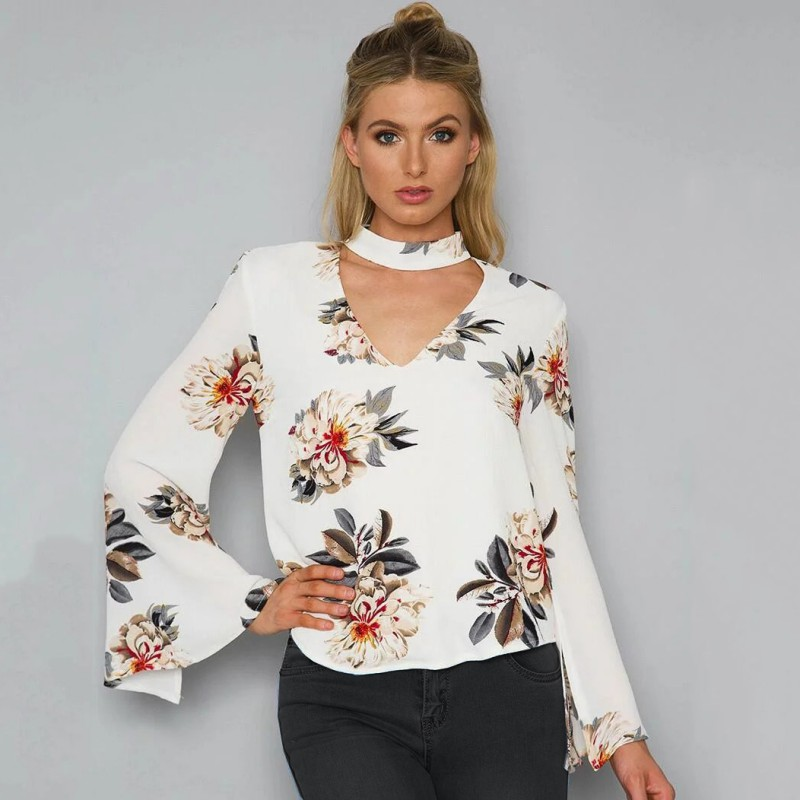 WJ 2017 Summer Floral Print V Neck Chiffon Blouse Women Tops Halter Long Sleeve Shirt Sexy Female Loose White Blusa G3