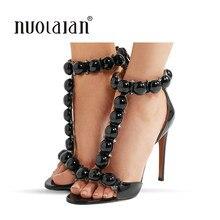 5b909f9b3b7 Marque femmes sandales d été chaussures à talons hauts femme talons minces dame  pompes sangle de fête dame chaussures de mariage.