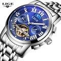Reloj Hombre LIGE Marca de Negócios de Moda masculina relógios de Pulso Homens de aço Completa Relógio mecânico Automático Relógio Do Esporte Dos Homens À Prova D' Água