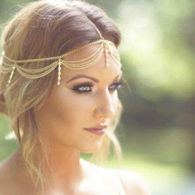 Boho Emas Draping Kristal Rantai Rambut Cuff Arabian Bridal Hair Aksesoris  Pernikahan Topi Baja Bijoux Elegan 47f2ef34e9
