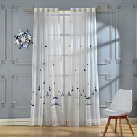 Castle Embroidered White Curtains Tulle For Living Room Cartoon Window Sheer For Kids Room White Embroidered