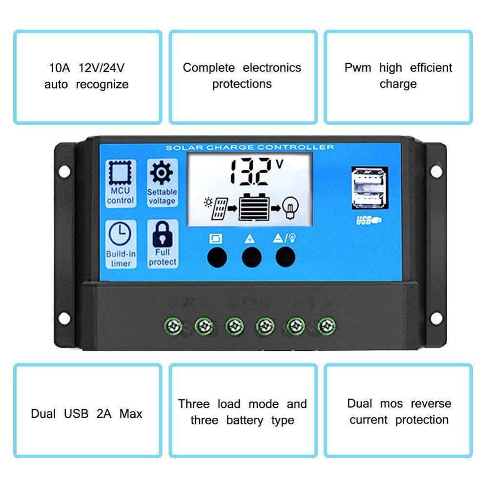 Electrical & Solar Home Improvement Beautiful Solar Controller Pwm Charge 48v Regulator 40a System Pv Charger Usb Output New For Sale