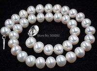 Высокий блеск 11 11,5 мм белый Искусственный пресной воды Жемчужное ожерелье колье