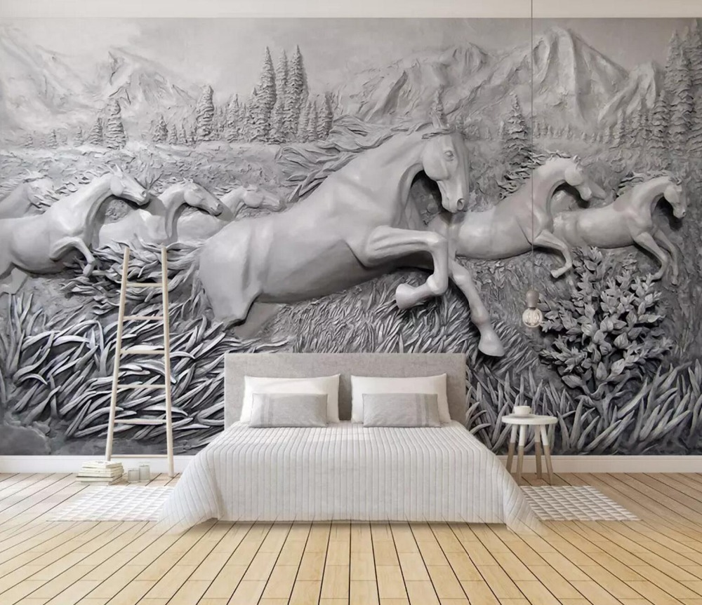 [Self-Adhesive] 3D Grass Running Horse Group 6 Wall Paper Mural Wall Print Decal Wall Murals