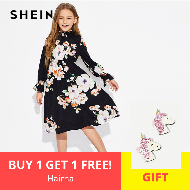 SHEIN Girls Black Floral Print Stand Collar Elegant Dress Kids Clothing 2019 Spring Korean Long Sleeve A Line Casual Dresses vogue floral imprint short sleeve womens skater dress