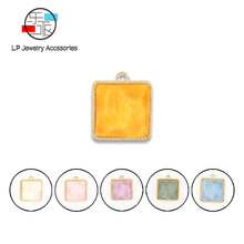 DIY Earrings making handmade resin Zinc Alloy Accessories fashion square Charms Pendant Trendy Korean Jewelry Findings 10pcs/lot