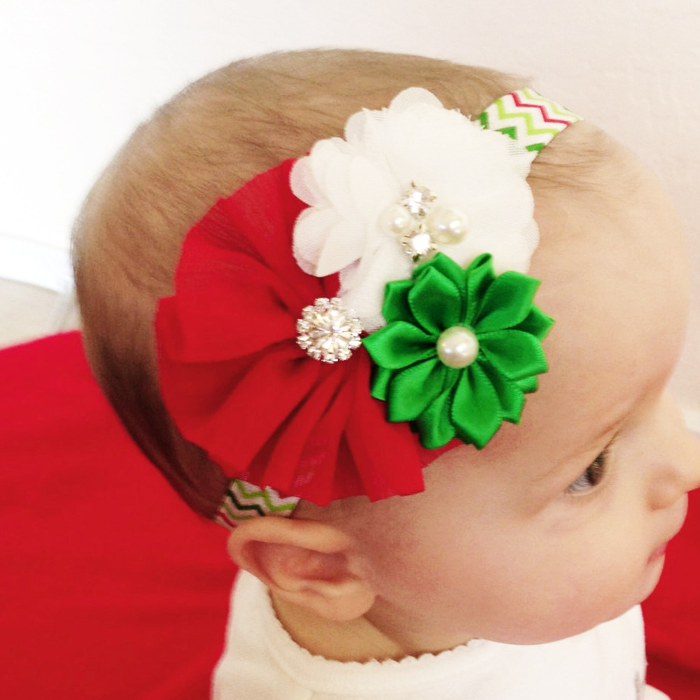 12PCS/LOT Lovely Wave Red Chiffon Flower Christmas Hair Bows Headband kids Hair Accessories Best Merry Christmas DIY Headwear metting joura vintage bohemian green mixed color flower satin cross ethnic fabric elastic turban headband hair accessories