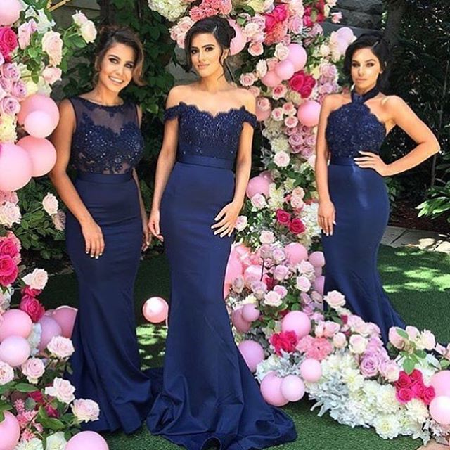 98c55243384c Navy Blue Satin Lace Applique Off The Shoulder Mermaid Custom Made Long Bridesmaid  Dresses Maid Of Honor Dress