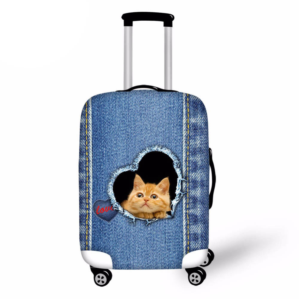 18-28 чемодан защитные чехлы Denim Cat Единорог Чемодан крышка Эластичный дорожная сумка Чехол чемодан дорожные аксессуары