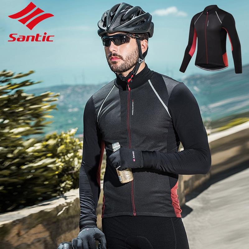 Santic automne hiver 2 couleurs hommes polaire coupe-vent à manches longues veste de cyclisme Ciclismo respirant vélo de route chemise haute vêtements