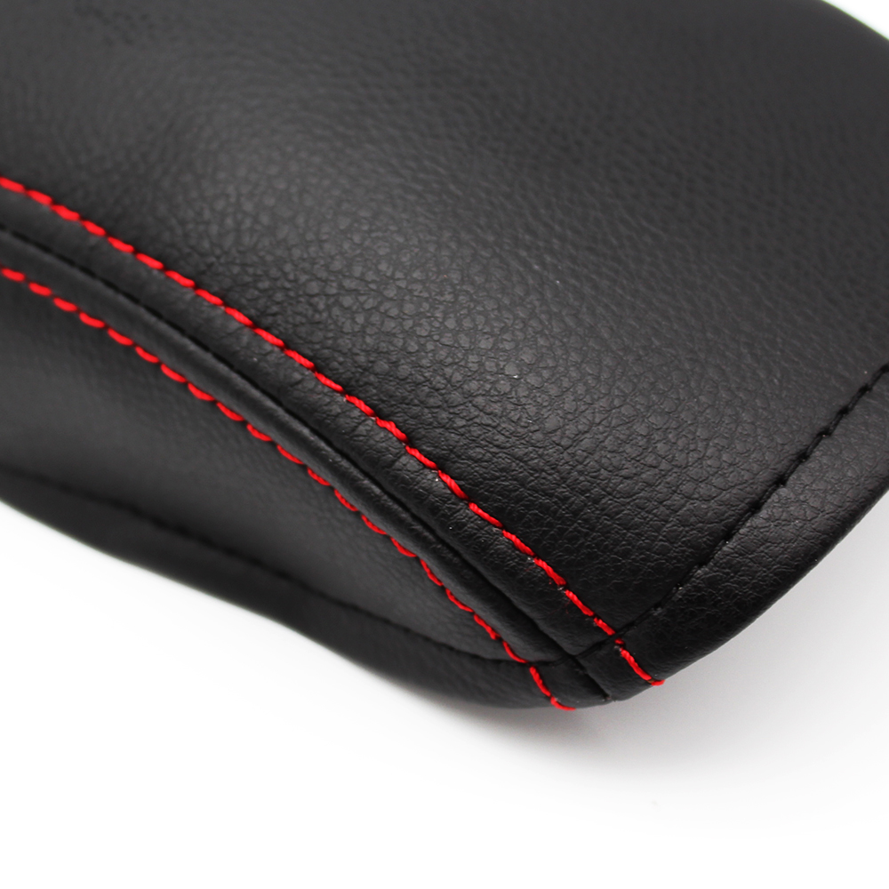 Car Styling Center Console Lid Armrest Box Cover DIY Black Leather With Red Stitching for Hyundai Elantra 2004 - 2012