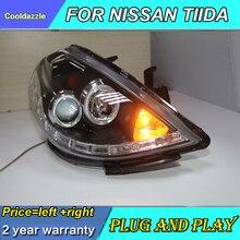 Для Nissa Tiida светодиодный головной фонарь 2008 2009 2010 год передние фары Дневные ходовые огни поворотные сигнальные ангельские глазки