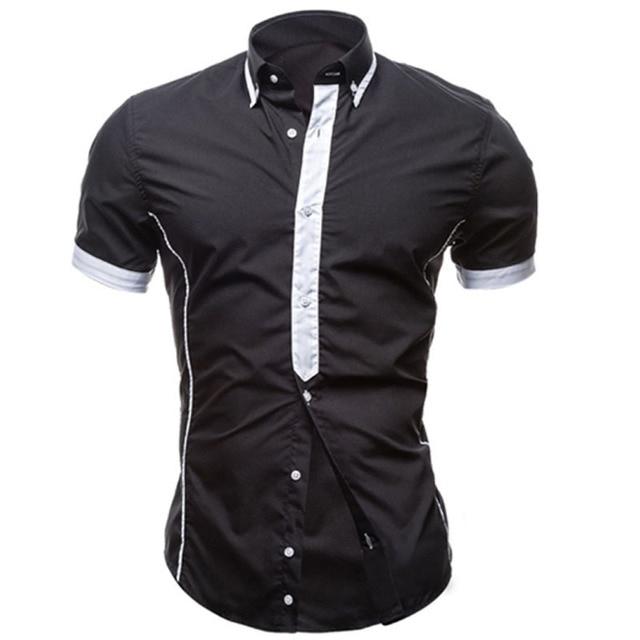 Camisa dos homens Camisas de Manga Curta 2017 Marca Dos Homens Casual Masculino Camisas Dos Homens Camisas de Vestido Slim Fit Splice Encerramento Chemise XXL YRBSKMN
