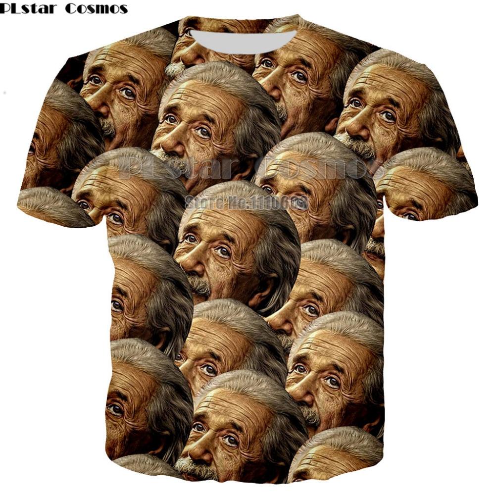 PLstar Math Science T-shirt For women men Graphic 3d T Shirt Funny Print Einstein T-shirt Casual Tops Large Size Shirt XS-7XL